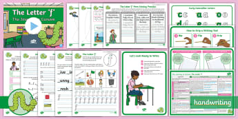 The Journey to Cursive: The Letter 'f' (Curly Caterpillar Family Help Card 7) KS1 Activity Pack - cursive, handwriting, joined, legible, fluent, penpals, nelson handwriting