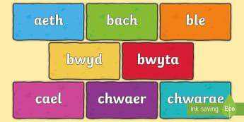 Cardiau Arddangosfa Geiriau Aml-Uchel Cam 3 - wall iaith, iath, arddangosfeydd, geiriau aml-uchel, geirfa,Welsh-translation