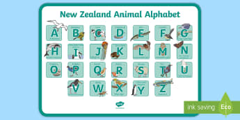 New Zealand Alphabet Display Poster -  reading, letters, animals, insects, fish, birds, Year 1-3