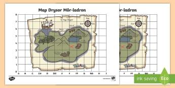 Map Drysor Môr-ladron  - Coordinates, cyfesurynnau, cyfeirnod grid, map, mor leidr, pirate, grid reference,Welsh