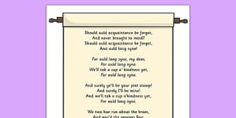 Auld Lang Syne Display Poster - display, posters, auld lang syne, auld lang syne poem, poem, poetry, poetry poster, A4 posters, poster, classroom display posters