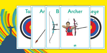 The Olympics Archery Display Posters - Olympics, Olympic Games, sports, Olympic, London, 2012, display, banner, poster, sign, Olympic torch, flag, countries, medal, Olympic Rings, mascots, flame, compete, archery, archer, bowman, bow, arrow, target,