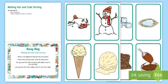 Melting Hot and Cold Concept Sorting  Busy Bag Prompt Card and Resource Pack - Early Concepts, heat, frozen, ice,