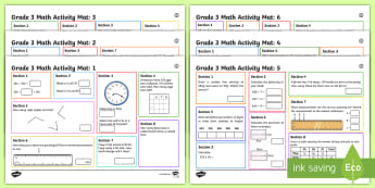 Grade 3 Summer 1 Math Activity Mats - Math, Primary, Grade 3, Math, Number Sense and Numeration, Geometry and Spatial Sense, Measurement,