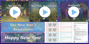 New Year CfE Second Level Resource Pack - Hogmanay, 2018, New Year's Day, New Year's eve, 1st January,Scottish