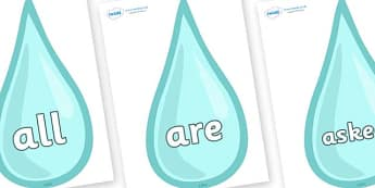 Tricky Words on Water Drops - Tricky words, DfES Letters and Sounds, Letters and sounds, display, words