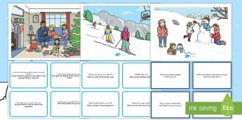Winter Scenes and Question Cards Pack Arabic/English - winter scenes, question cards, pack, wnter, wintre, eal,Arabic-translation