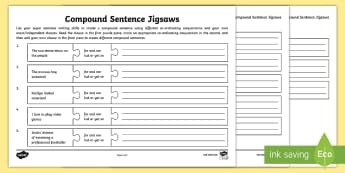 What Is a Compound Sentence?: Compound Sentence Jigsaw Worksheet / Activity Sheets - what is a compound sentence, compound sentence, multi-clause sentence, sentences, sentence types, co