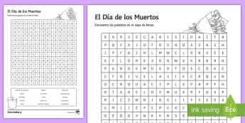 Mexican Day of the Dead Word Search Spanish - worksheet, activity, Halloween, Day, Dead, Vocabulary, Spellings, Mexico, Traditions, Festivities, C