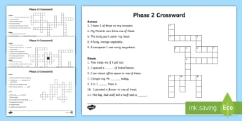 Phase 2 to 5 Phonics Crossword Resource Pack  - Phase 2 Crossword - phase 2 crossword puzzle, phase 2 crossword worksheet, crossword, phase 2 words,