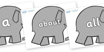 100 High Frequency Words on Elephants to Support Teaching on Elmer - High frequency words, hfw, DfES Letters and Sounds, Letters and Sounds, display words