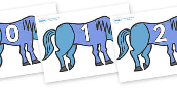 Numbers 0-100 on Blue Horse to Support Teaching on Brown Bear, Brown Bear - 0-100, foundation stage numeracy, Number recognition, Number flashcards, counting, number frieze, Display numbers, number posters