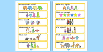 'Who Is...?' Ordinal Number Concept Cards Activity (Set Two) - SEN, order