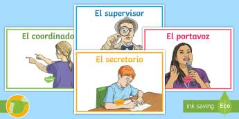 Pegatinas de mesa: trabajo cooperativo - Tercer ciclo - trabajo cooperativo, clase, división de tareas, coordinador, portavoz, supervisor, secretario.,Span