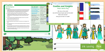 Castles and Dragons Small World Play Idea and Printable Resource Pack - EYFS, role-play, castles, kings and queens, knights, armour