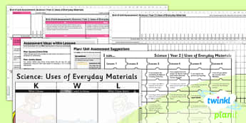 Science: Uses of Everyday Materials Year 2 Unit Assessment Pack