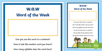 Word of the Week Display Poster - oral language, english, oracy, new language Curriculum, talking ,Irish