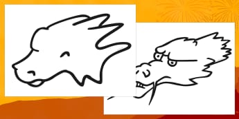 Dragon Head Template - dragon head template, dragon, animal, template, templates, colouring, creative, activity, dragons, scary, fire