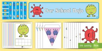 Dojo Resource Pack - behaviour management, class management, points, rewards, homework rewards,