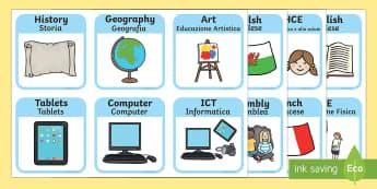 Visual Timetable for School English/Italian - SEN Visual Timetable for School - sen visual timetable, school visual timetable, simple visual timet