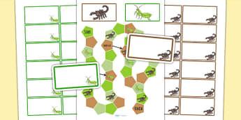 Minibeasts Editable Board Game - mini beasts, games, activities