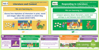 Australian Curriculum English: Year 2 Literature Content Descriptions Display Posters - Learning Intention, ACARA, WALT, Learning Objective, Learning Goal, Content Descriptors, Literature
