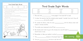 Third Grade Sight Words Activity Sheet - Fry Words, High Frequency Words, Reading Fluency, word work,, vocabulary, worksheet