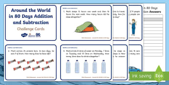 F-2 Around The World In 80 Days Addition and Subtraction Maths Challenge Cards - Mark Beaumont, Around the world in 80 days, cycling, challenge, World Record, Australian Curriculum,
