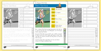 Australian Rio Olympian Daria Gavrilova Handwriting Practice Activity Sheets-Australia, worksheet