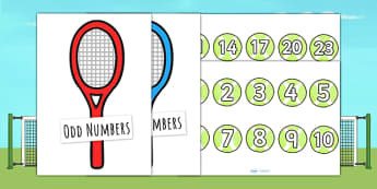 Tennis Ball and Racket Odd and Even Sorting Activity - sports, pe