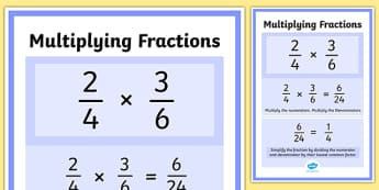 Multiplying Fractions Display Poster -maths, numeracy, display, visual aid, ks2, junior, multiply, times, numerator, denominator, top times top, bottom, less, smaller