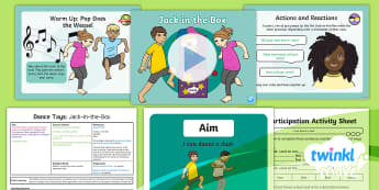 Twinkl Move - Year 2 Dance: Toys Lesson 4 - Jack in the Box - Move, KS1, Key Stage 1, Year 2, Y2, PE, Dance, Exercise, Sport, Physical Education, Toys, Jack-in-th