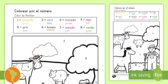 Farm Color by Numbers Spanish (Latin)/US English - Farm Color by Numbers - coloring, coloring activities, count, numbes, colering, colourby numbers, co