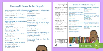 Honoring Dr. Martin Luther King, Jr. Book List - Dr. King, MLK, Black History, Civil Rights, Dr. Martin Luther King Jr.