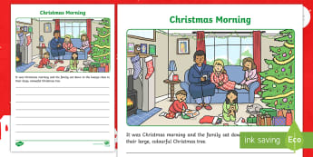 Christmas Morning Writing Prompt Activity - writing prompt, creative writing, complete the story, family, christmas, story writing