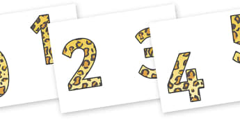 0-9 Display Numbers (Leopard Print) - Display numbers, 0-9, numbers, display numerals, display lettering, display numbers, display, cut out lettering, lettering for display, display numbers