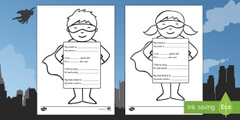 All About Me Superhero Writing Template English/Afrikaans - fine motor, colouring, pen, pencils, literacy, myself, EAL