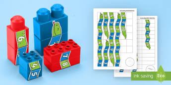 Number Snake to 10 Connecting Bricks Game - EYFS, Early Years, KS1, Connecting Bricks Resources, duplo, lego, plastic bricks, building bricks, j