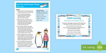 Boat Size and Strength Testing STEM Activity and Prompt Card Pack - Lost and Found, Oliver Jeffers, polar regions, Lost Penguin, penguin, floating, sinking, stem, scien