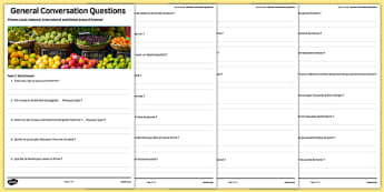 Social Issues Themed General Conversation Questions Activity Sheet French - Speaking, Problèmes Sociaux, Health, Santé, Healthy Living, Charity, Voluntary Work, Bénévole Organisation, Caritative, Smoking, Alcohol, Drugs