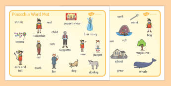 Pinocchio Word Mat - Pinocchio, Geppetto, Blue Fairy, wand, father, boy, puppet, word mat, writing aid, mat, puppet show, cat, dog, ears and tail, nose, magic tree, coins, raft, school, son, child, shrink, story, story book, story resources