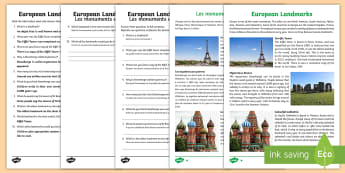 European Landmarks Differentiated Reading Comprehension Activity English/French - Europe Landmarks Reading Comprehension Activity - geography, continent, comprehesion, comprehnsion,