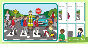 Road Safety Scene and Question Cards - road safety, street safety, personal safety, scene and question cards, road safety scene and questio