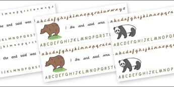 Alphabet Strips (Bears) - Alphabet, Learning letters, Writing aid, Writing Area, animals, polar bear, koala bear, brown bear, grizzly bear, sloth bear,  bear resources