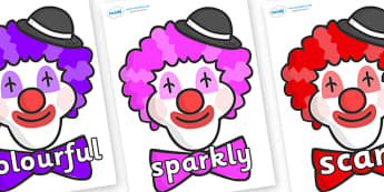 Wow Words on Clown Faces - Wow words, adjectives, VCOP, describing, Wow, display, poster, wow display, tasty, scary, ugly, beautiful, colourful sharp, bouncy