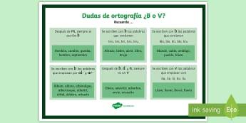 Póster de ortografía ¿B o V? - ortografía, normas, b, v, cómo se escribe, palabras,Spanish
