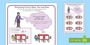 Maths Magician Partitioning Worksheet / Activity Sheet Tens Ones US English/Spanish (Latin) - numeracy, paritioning, numracy, Partisioning, pat