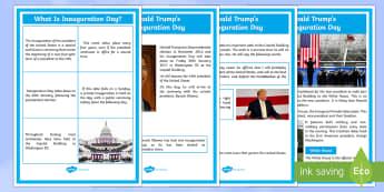 Inauguration Day Display Posters - KS1/2 Donald Trump Inauguration Day Jan 20th 2017