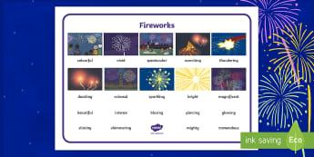 Fireworks Word Mat - bonfire night, firework, firework display, adjectives, describing words, guy fawkes,