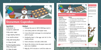 Ten Little Lights Snowmen Cupcakes Recipe - Twinkl Originals, Fiction, Christmas, Winter, Snow, Cold, KS1, EYFS, D&T, Story sack